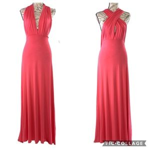 Lapis Coral Convertible Halter Maxi Dress Size Med